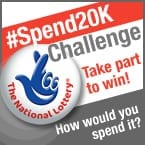#Spend20K challenge badge with National Lottery