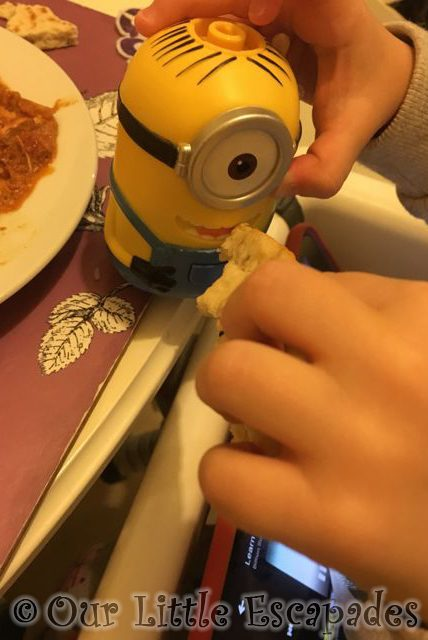 minion eating dinner