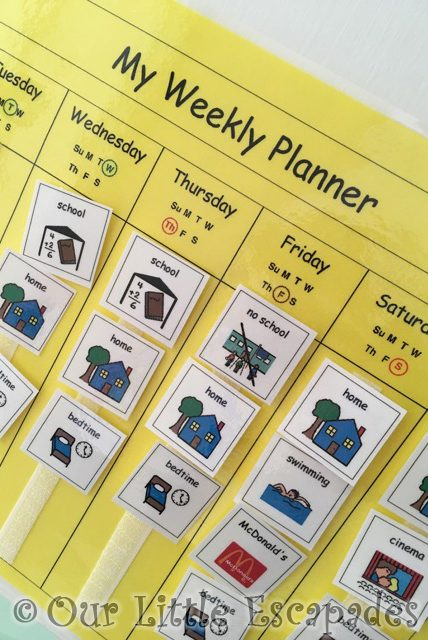 autism visual weekly planner