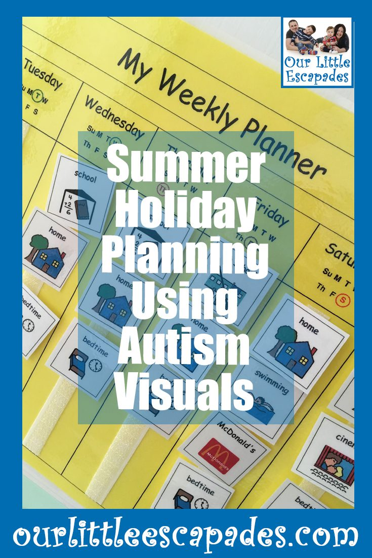 summer holiday planning using autism visuals