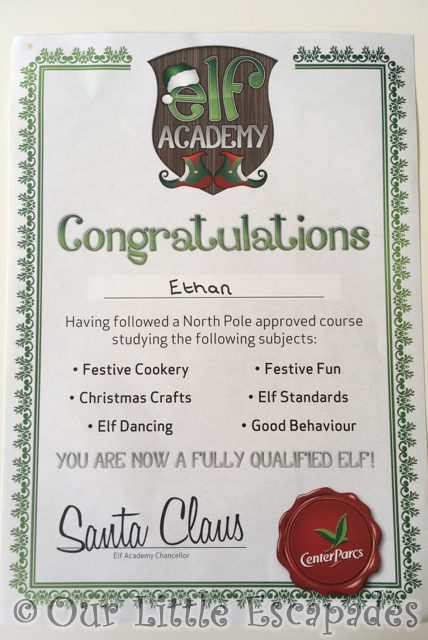 completion certificate center parcs elf academy