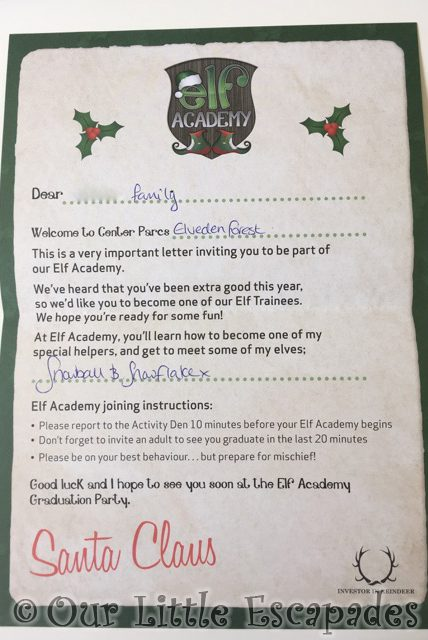 elf academy invitation details center parcs elveden forest