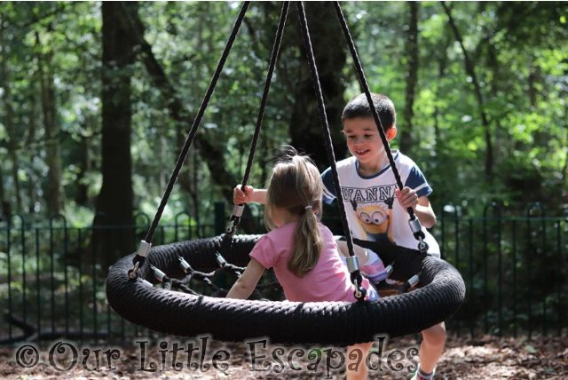 ethan pushing little e swing highwoods country park August 2017