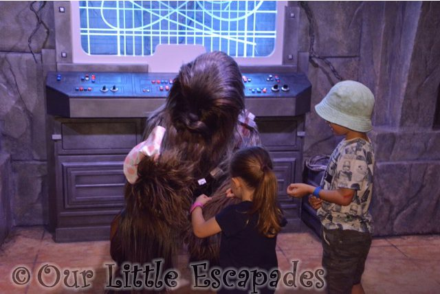 chewbacca holding little es hat disneys hollywood studios walt disney world