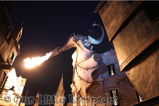 gringotts fire breathing dragon night diagon alley harry potter universal florida