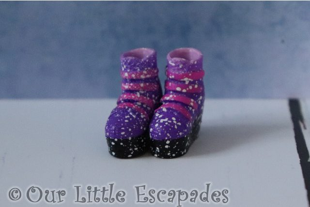 off the hook style dolls purple paint fleck boots