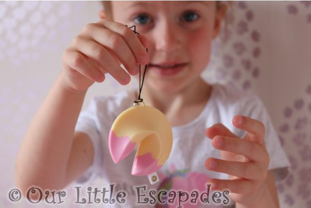 little e pink lucky fortune cookie key chain