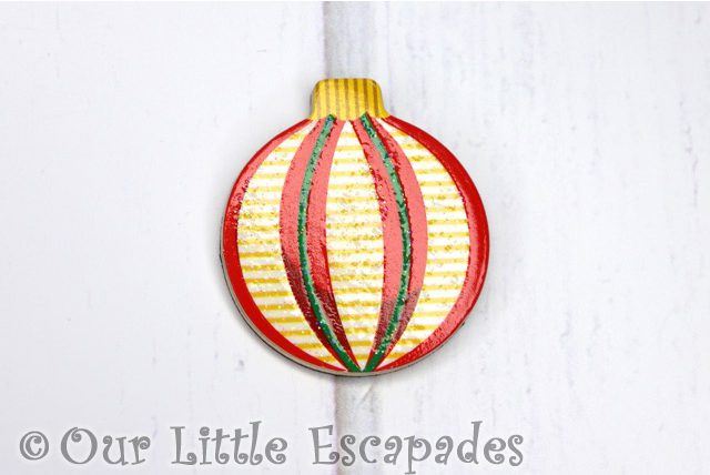 yellow striped pattern magnetic christmas tree bauble