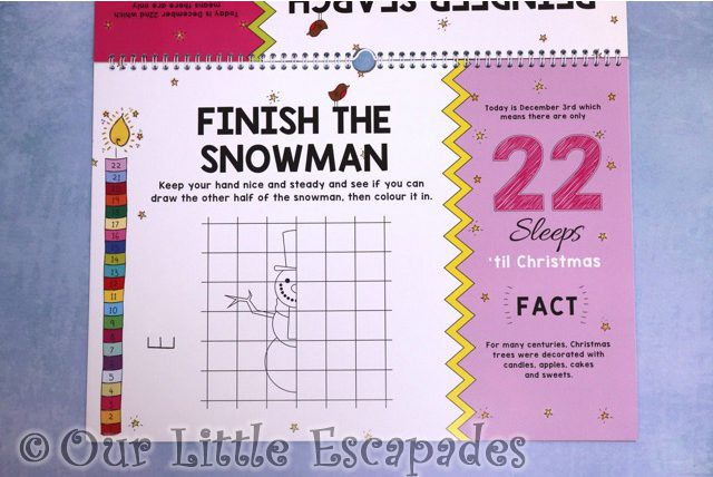 finish the snowman 24 sleeps til christmas advent book