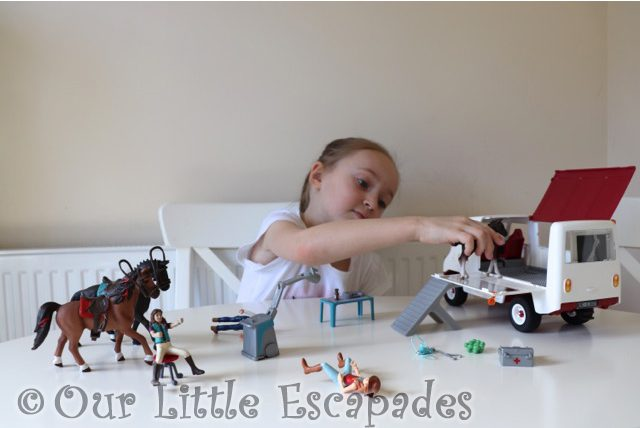 playing little e schleich horse club mobile vet van schleich horse club figures