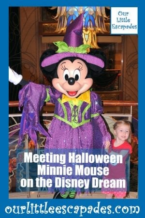 Meeting Halloween Minnie Mouse on the Disney Dream