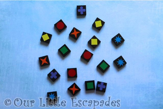 different colours shapes game tiles