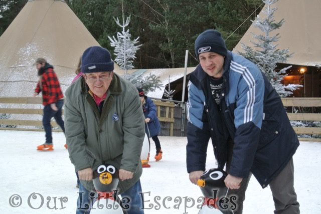 darren grandpa ice skating holding penguin supports lapland uk superstar day