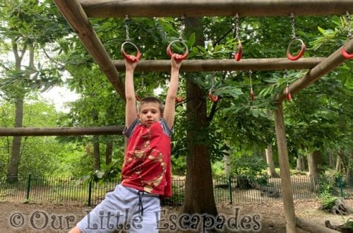 ethan swinging monkey bars childrens play area highwoods country park