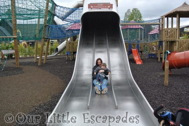 jane ethan going down big slide colchester zoo