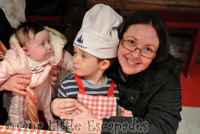 jane little e ethan wearing chef hat lapland uk superstar day