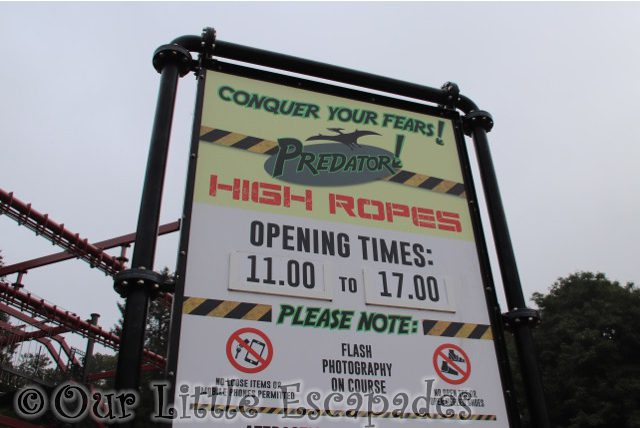 predator high ropes sign