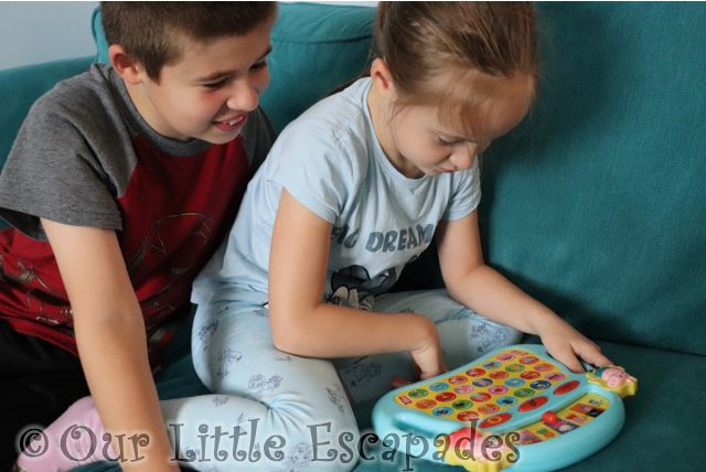 ethan little e playing peppa pig laugh learn alphaphonics peppa pig electronic toys