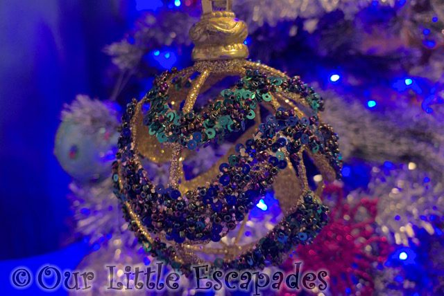 gold green sequin bauble christmas ornament