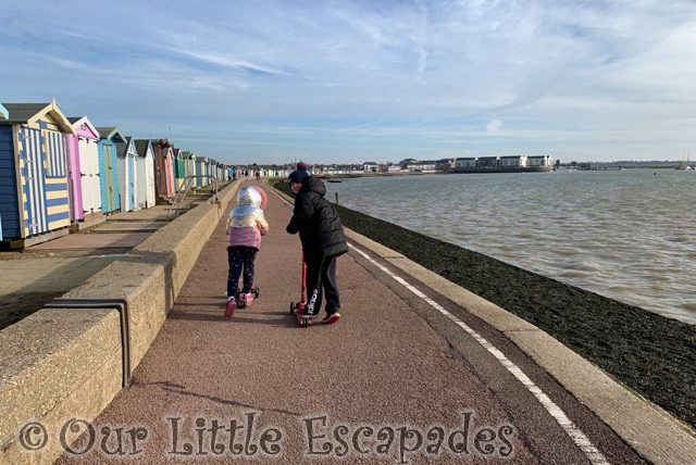 ethan little e scootering brightlingsea promenade