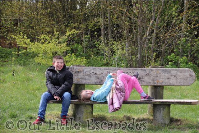 ethan sitting little e laying bench cudmore groove mersea island April 2021