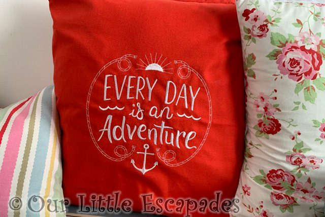 every day is an adventure red cushion sunnysands beach hut