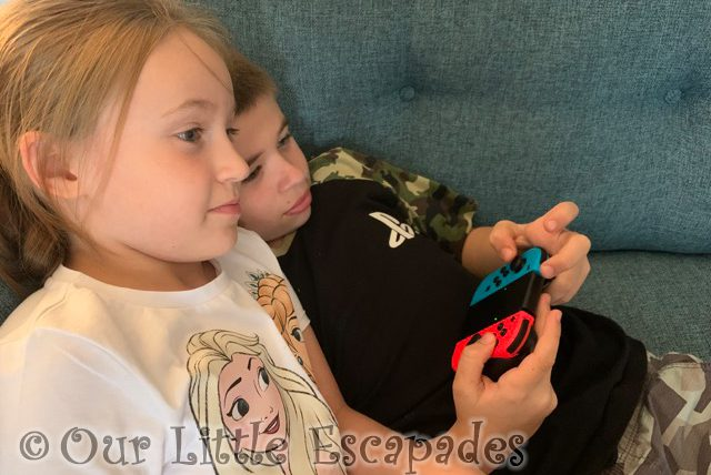 ethan little e playing animal crossing together